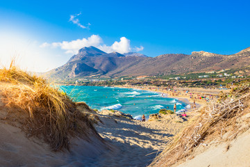 Famous sandy beach of Falasarna at the north west of Chania, Crete, Greece.