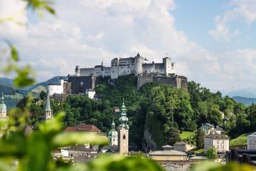 Salzburg panorama with view on castle Hohensalzburg during summer time, Salzburg, Austria