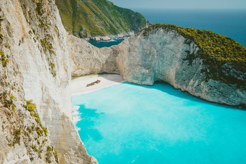 Navagio beach Zakynthos. Shipwreck bay with turquoise water and white sand beach. Famous marvel landmark location in Greece