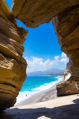 The beach of Triopetra with turquoise sea in Southern Crete, Greece
