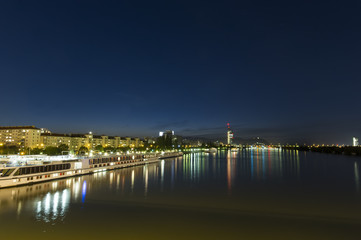 Danube river at night. Vienna city, Austria