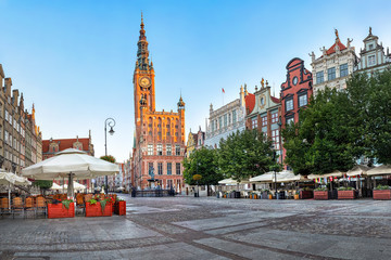 Gdansk Town Hall located on Dluga street (Long lane) in old town of Gdansk, Poland