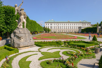 Flowers bloom at the Mirabell Palace Garden in Salzburg, Austria