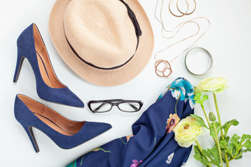 Fashion accessories and blue high heels shoes for girls and women. Urban fashion trends