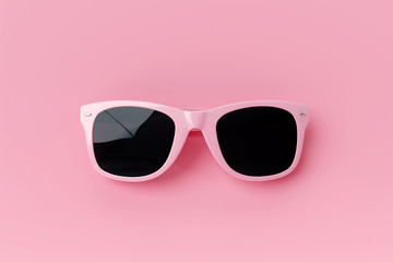 Sunglasses on pastel pink background. summer concept. 3d rendering