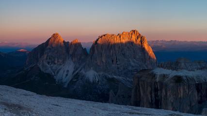 Dolomites mountains  brightsunrise