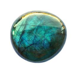 Labradorite round Gemstone. Shiny, layered. Isolated on white background