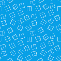 Books seamless outline blue pattern. Vector background
