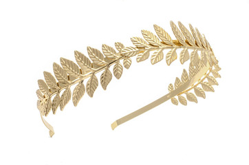 golden laurel wreath, headband isolated on white