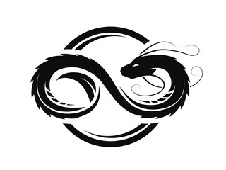 Dragon in the form of infinity, circle logo, symbol.