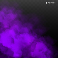 Purple Fog or smoke color isolated transparent special effect. White vector cloudiness, mist smog background. illustration