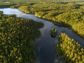 Aerial view of a lake surrounded by dense boreal aka taiga forest in Oulanka National Park, Finland