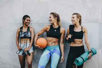 Fitness women having fun after workout