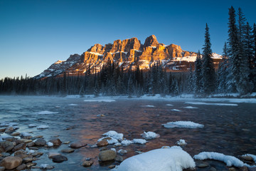 A winter morning at Castle Mountain in Banff National Park, Alberta, Canada