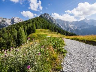 Panoramic view of Mrzla gora, Rinka and Velika Koroška Baba in Kamnik-Savinja Alps on Slovenian-Austrian border