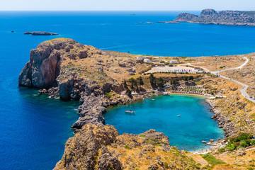 Piękna zatoka Lindos na Rhodes wyspie, Grecja