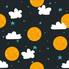 Childish cute seamless pattern with moon, stars and cloud. Vector hand drawn illustration.
