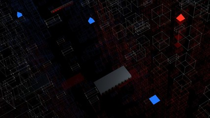 3d render abstract background. Tech geometry shapes that goes up and down.