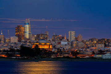 Panorama of San Francisco Downtown at twilight viewed from Marina District