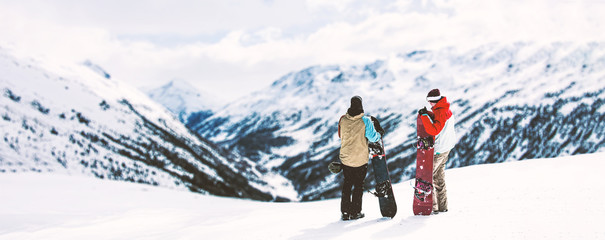 Winter time in Alps and free space for your text.