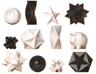 Decor figures, geometric and abstract shape decoration set, minimalistic sculptures collection, 3d rendering