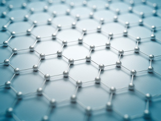 Graphene molecular grid, graphene atomic structure concept, hexagonal geometric form, nanotechnology background 3d rendering