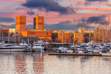 Oslo Radhuset or City hall skyline during sunset in Norway