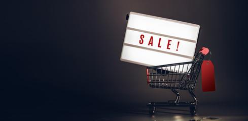 Wyprzedaż light box w koszyku z ceną w rozmiarze transparentu ciemnego pokoju studio. Makiety w nagłówku zostaw miejsce na dodanie tekstu lub projektu w celu promowania kampanii biznesowej online.