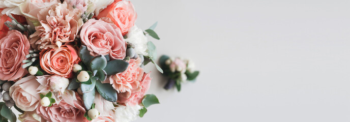 Fresh bunch of pink peonies and roses with copy space