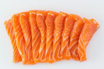 Salmon raw sashimi on white background