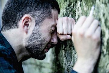 depressed man (body language, gestures, psychological portrait)