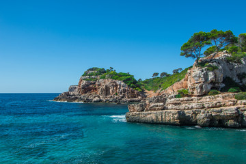 Landscape of a beautiful beach in a summer day on Mallorca, Balearic Island, Spain