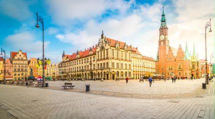 panorama of market Square of Wroclaw with gothic town hall , Wroclaw, Poland, retro toned