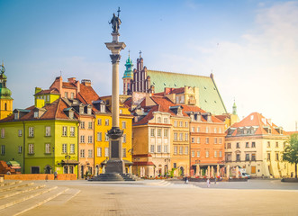 Old town square in Warsaw, historical heritage, Poland, retro toned
