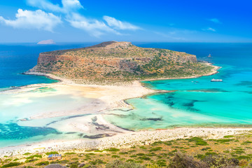 Tropical beach. Balos lagoon on the Crete Island. Greece