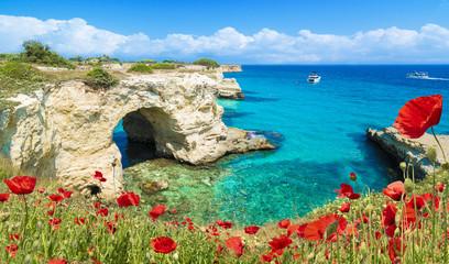 Stacks of Torre Sant Andrea, Salento coast, Puglia region, Italy