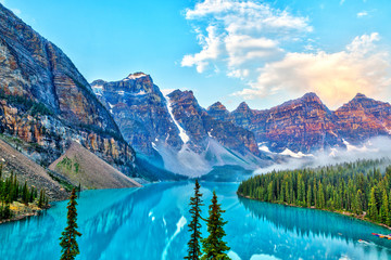 Sunrise Over the Valley of Ten Peaks at Moraine Lake in the Canadian Rockies