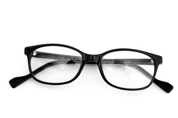 lunettes noires de femme,isolé,fond blanc
