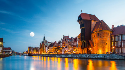 Harbor at Motlawa river with old town of Gdansk in Poland