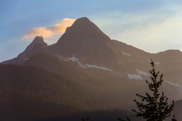 Smoke-Haze Sunset, North Cascades National Park, WA, USA