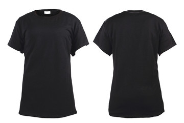 Women's blank black t-shirt, front and back design template
