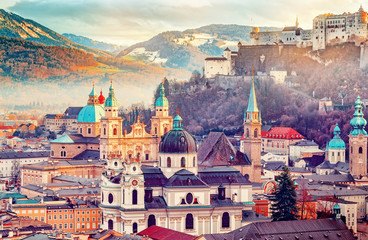 Salzburg, Austria, Europe. City in Alps of Mozart birth.  Panoramic view of Salzburg skyline with Festung Hohensalzburg and in autumn. Famous town and popular international travel destination.