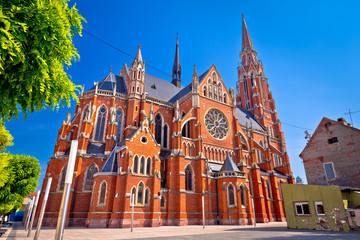 Osijek cathedral of St Peter and St Paul colorful view