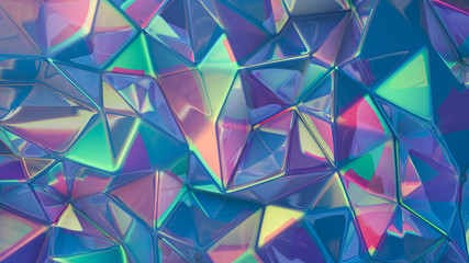 Stylish multi-color crystal background. 3d illustration, 3d rendering.