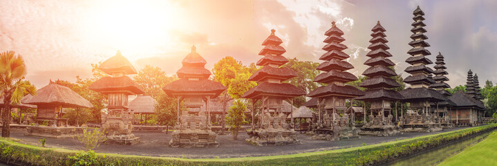 Traditional balinese hindu Temple Taman Ayun in Mengwi. Bali, Indonesia with sunlight