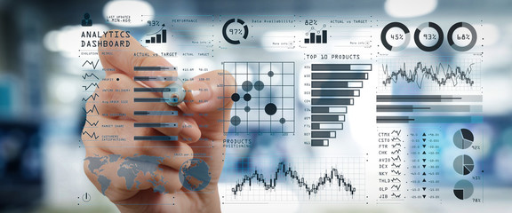 Intelligence (BI) and business analytics (BA) with key performance indicators (KPI) dashboard concept.business documents on office table with smart phone and digital tablet and graph