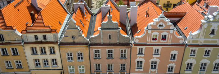 Panorama from the main building in the town of Opole. Colorful houses and pavements, magnificent area. Historical architecture of Europe.