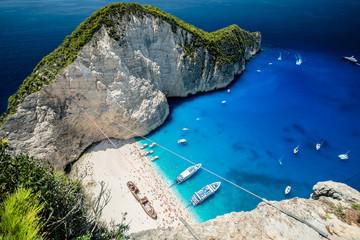 Navagio Beach with Ship Wreck, Zakynthos Island, Grecja