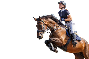 Końska jeździec dziewczyna skacze nad przeszkodą odizolowywającą na białym tle. Pokaż tło konkurencji skoków