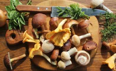 Mix of forest mushrooms on cutting board over old wooden table